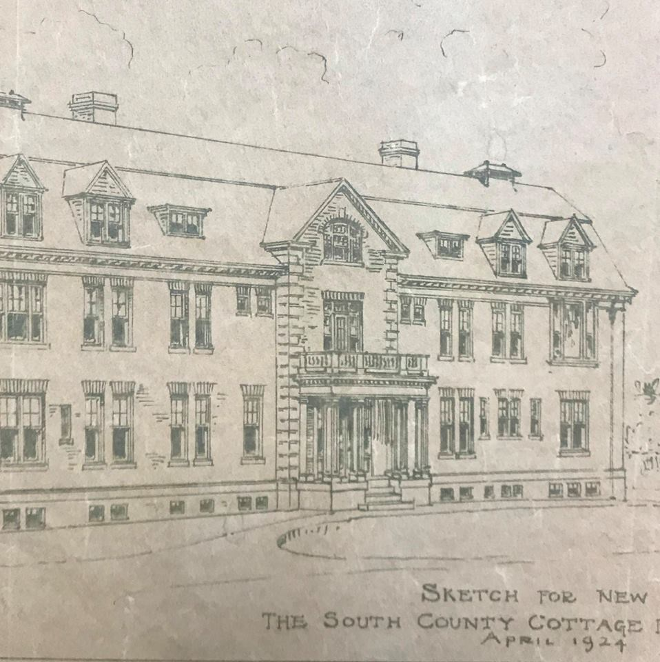 Sketch for new hospital as of April 1924.